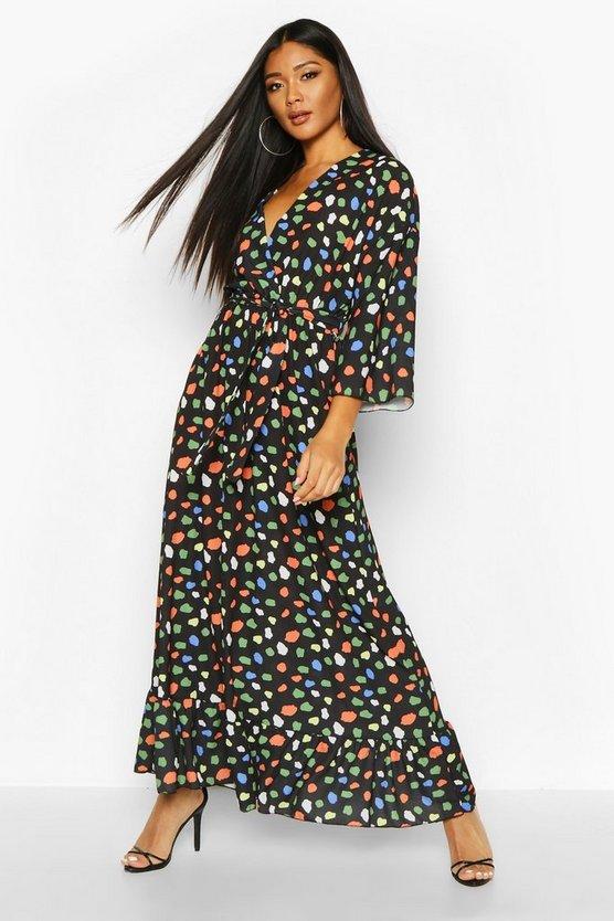 Woven Wrap Coloured Spot Print Midaxi Dress