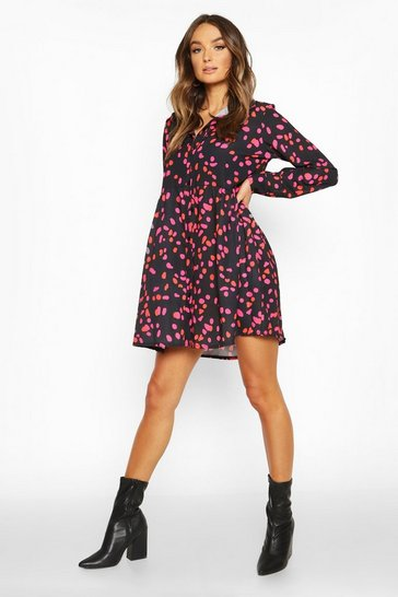 Black Woven Smudge Print Shirt Dress