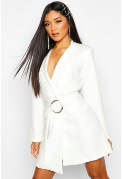 Womens Ivory Woven O-ring Wrap Blazer Dress