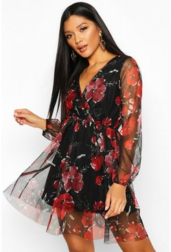 Womens Black Floral Print Mesh Skater Dress