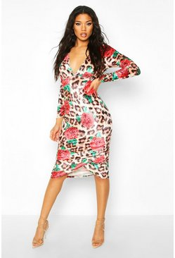 Brown Floral Animal Plunge Midi Bodycon Dress