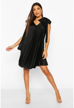 Black Heavy Satin Tie Detail Swing Dress