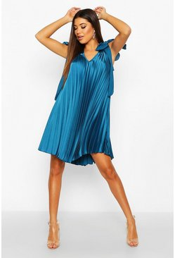 Dusty blue Heavy Satin Tie Detail Swing Dress