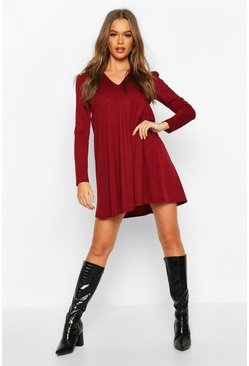 Womens Berry Puff Sleeve Smock Dress