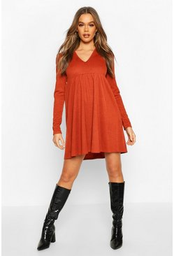 Womens Rust Puff Sleeve Smock Dress