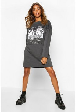 Womens Charcoal Graphic Sweat Dress