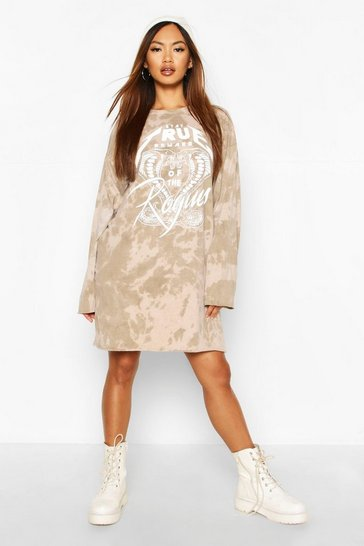 Womens Stone Drop Shoulder Bleach Wash Graphic T-Shirt Dress