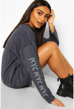 Grey Drop Shoulder Slogan T-Shirt Dress