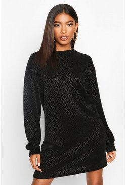 Womens Black Velvet Textured Sweat Dress