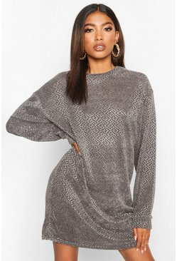 Womens Charcoal Velvet Textured Sweat Dress