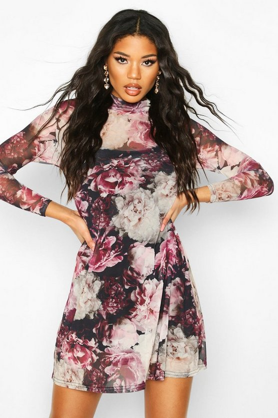 High Neck Floral Mesh Swing Dress
