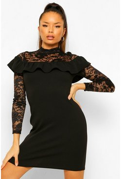 Black High Neck Lace Top Mint Bodycon Dress