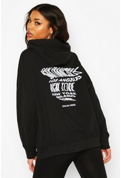 Womens Black Oversized Printed Hoodie