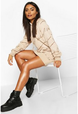 Beige Woman Signature All Over Print Hoodie Dress