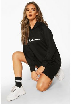 Womens Black Woman Signature Oversized Hoodie Dress