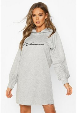 Grey marl Woman Signature Oversized Hoodie Dress