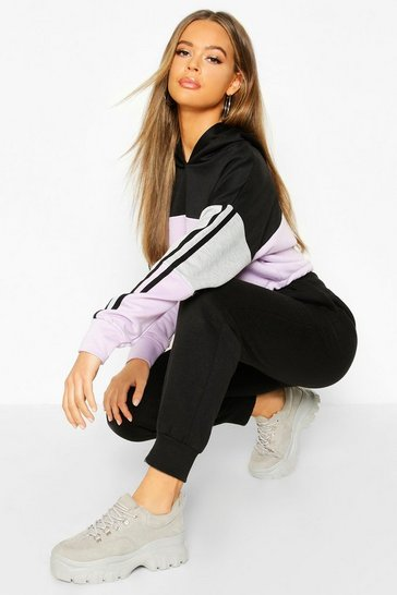 Lilac Colour Block Sports Stripe Tie Crop Hoodie