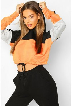 Orange Colour Block Sports Stripe Tie Crop Hoodie