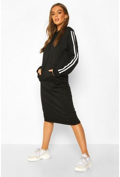 Black Double Side Stripe Hoodie Dress