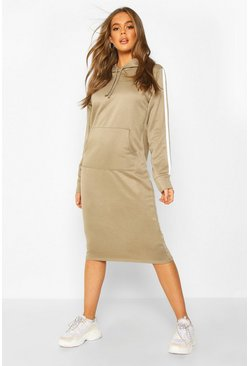 Khaki Double Side Stripe Hoodie Dress