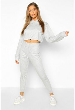 Womens Grey Drawstring Cropped Hoodie Tracksuit