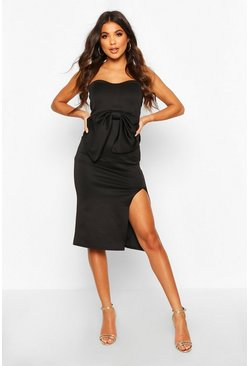 Black Bandeau Bow Midi Dress