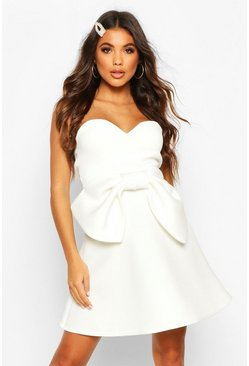 Ivory Bandeau Bow Skater Dress