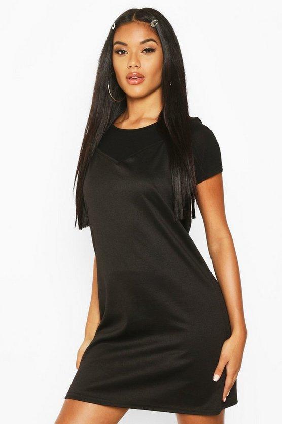 Stripe T-Shirt Layered Slip Dress