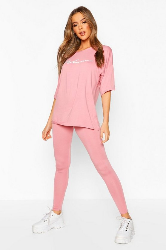 Woman Oversized T-Shirt & Legging Set