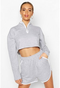 Grey Zip Sweat & Short Tracksuit