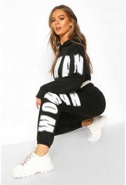 Black Woman Oversized Sweat Tracksuit