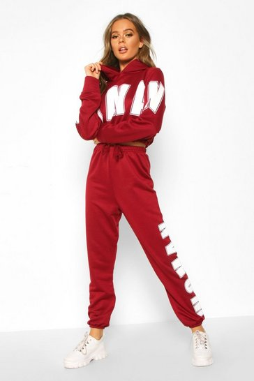 Womens Wine Woman Oversized Sweat Tracksuit