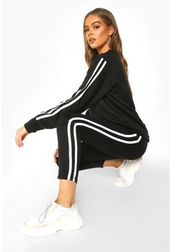 Womens Black Side Stripe Sweat Jogger Set