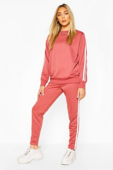 Dusky pink Side Stripe Sweat Jogger Set