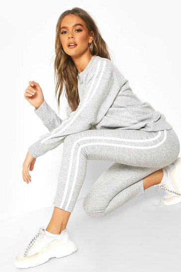 Grey Side Stripe Sweat Jogger Set
