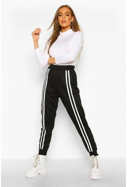 Womens Black Front Double Stripe Jogger