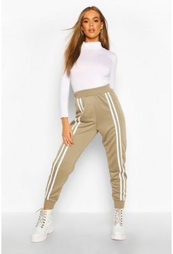 Womens Khaki Front Double Stripe Jogger