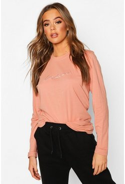 Blush Woman Embroidered Long Sleeve T-Shirt