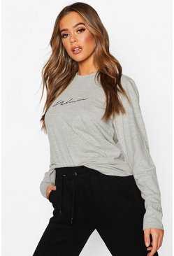Grey Woman Embroidered Long Sleeve T-Shirt