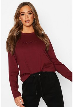 Wine Woman Embroidered Long Sleeve T-Shirt