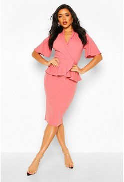 Rose Flared Sleeve Wrap Peplum Dress