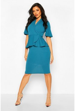 Womens Teal Flared Sleeve Wrap Peplum Dress