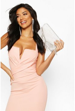 Womens Nude Wrap Front Midi Bodycon Midi Dress