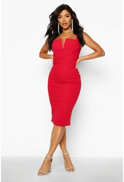 Dam Red Wrap Front Midi Bodycon Midi Dress