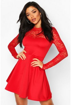 Lace Top Skater Dress, Red, MUJER