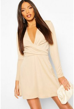 Womens Stone Long Sleeve V-neck Tie Detail Skater Dress