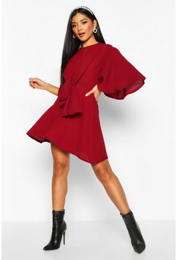 Womens Berry Kimono Sleeve Tie Detail Skater Dress