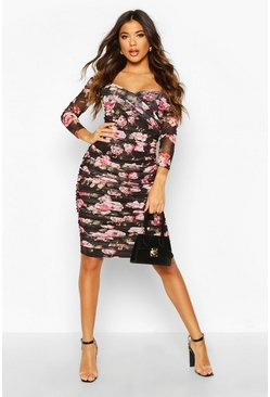 Womens Black Floral Off Shoulder Ruched Mesh Bodycon Midi Dress