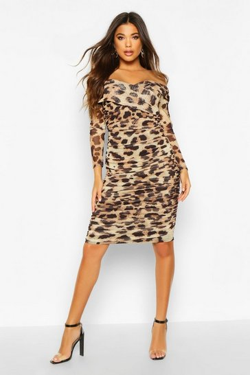 Womens Brown Leopard Off Shoulder Ruched Mesh Bodycon Midi Dress
