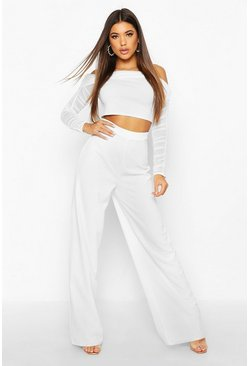 Womens White Mesh Bardot Crop And Wide Leg Trouser Co-Ord